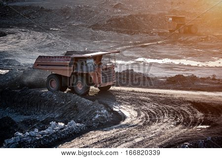 LAMPANG THAILAND - DEC 29: coal-preparation plant. Big mining truck at work site coal transportation December 29 2014 in Lampang Thailand