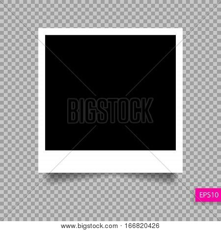 retro polaroid photo frame  template with shadow isolated on transparency background, vector illustration eps 10