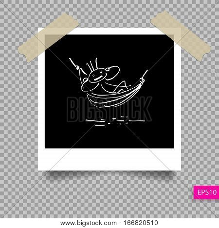 retro polaroid photo frame  template on sticky tape pin with shadow with hand drawing relax stick figure isolated on transparency background, vector illustration eps 10