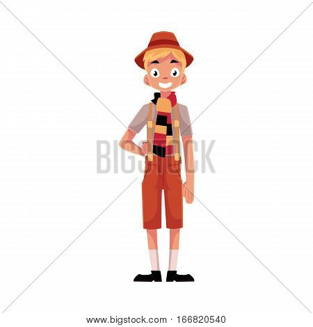 Young man wearing traditional German, Bavarian Oktoberfest costume, cartoon vector illustration isolated on white background. Full length portrait of German, Bavarian boy in traditional costume
