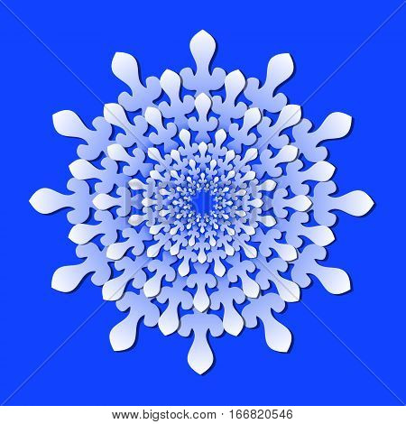 Decorative rosette in paper cut style, multilayered isolated design element in light blue on deep blue background