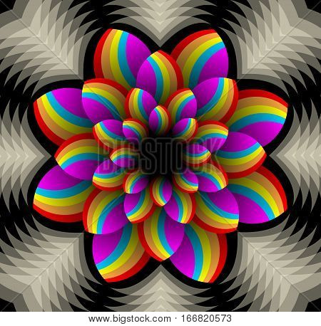 Multicolored star shape with spatial effect in fractal style, vector decorative design element