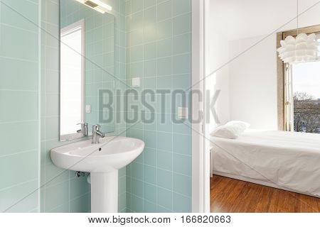Bright and Clean Bathroom and Bedroom Suite