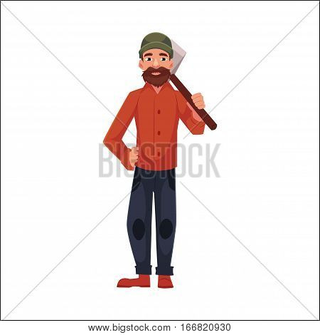 Lumberman, lumberjack, woodcutter standing and holding axe on his shoulder, cartoon vector illustration isolated on white background. Full length portrait of lumberman, lumberjack, woodcutter with axe