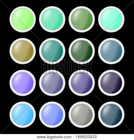 Set of circle shiny empty buttons in different colors with gray metallic frame,  blank buttons useful for web design, infographic presentation