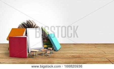 E-book Reader Books And Tablet 3D Render Om Wood Flor Success Knowlege Concept