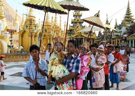 Yangon Myanmar - 9 January 2010: People queued with offers in the area of the Shwedagon Pagoda in Yangon on Myanmar