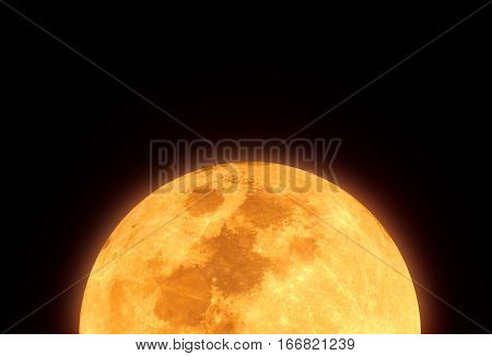 The Yellow Full Moon And Cloud On Night Sky
