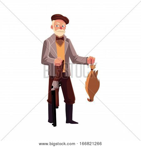 Funny hunter in jacket standing, holding rifle and falcon, cartoon vector illustration isolated on white background. Full length portrait of gentleman hunter with a gun and falcon
