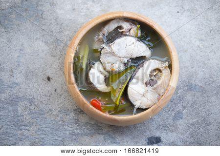 Tom Yum striped snakehead fish, Thai Food