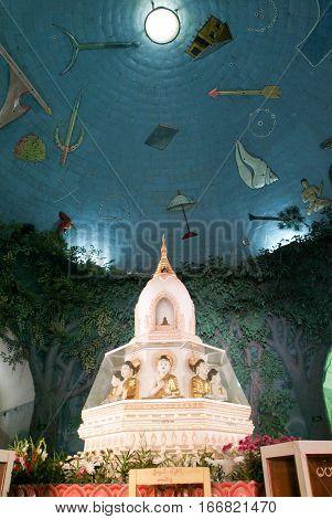 The indoor of Maha Wizaya Paya pagoda at Yangon on Myanmar
