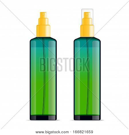 Realistic transparent cosmetic bottle sprayer container. Green gradient dispenser with yellow cap for cream, perfume, and other cosmetics. Mockup template for design. Vector illustration set