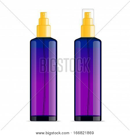 Realistic transparent cosmetic bottle sprayer container. Violet dispenser with golden cap for cream, perfume, and other cosmetics. Mockup template for design. Vector illustration set