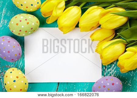 Easter Eggs, Tulips And Card