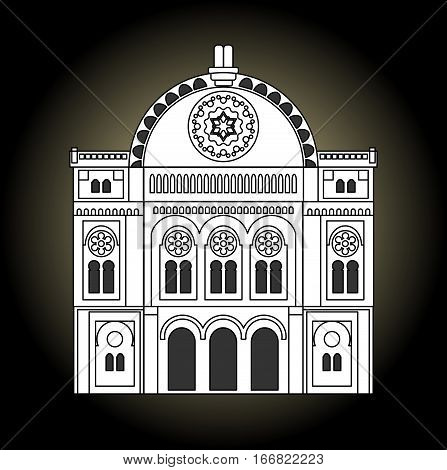 Synagogue black and white drawing. Facade of the synagogue in the front view. Jew religion building of old synagogue.