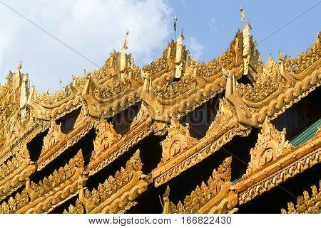 Golden roofs of the Shwedagon Pagoda in Yangon on Myanmar