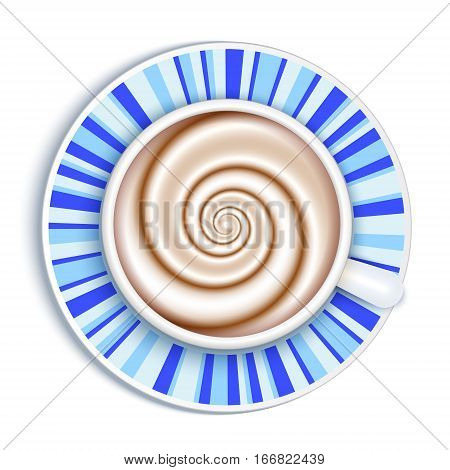 Top view white coffee cup on gingham patterned cloth background and white round napkin. Cappuccino full cup hot chocolate coffee and cream high milk foam. Coffee cup top view vector illustration. Breakfast illustration.