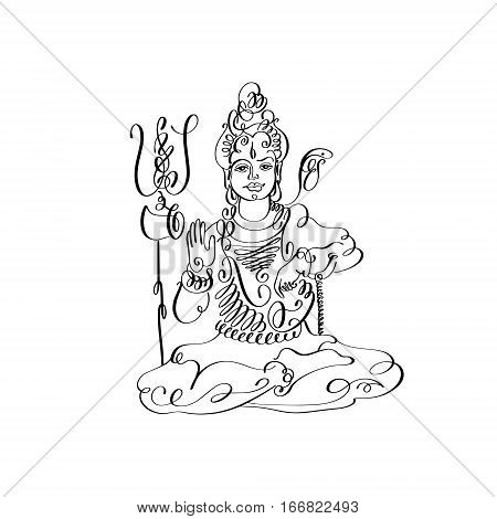 line art Lord Shiva black and white calligraphic drawing to Maha Shivaratri indian holiday design, vector illustration
