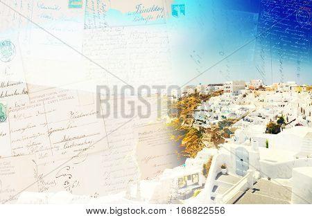 Vintage postcard of Oia, traditional greek village and Aegan sea waters, Santorini, Greece