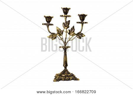the antiquarian candlestick isolated on white background