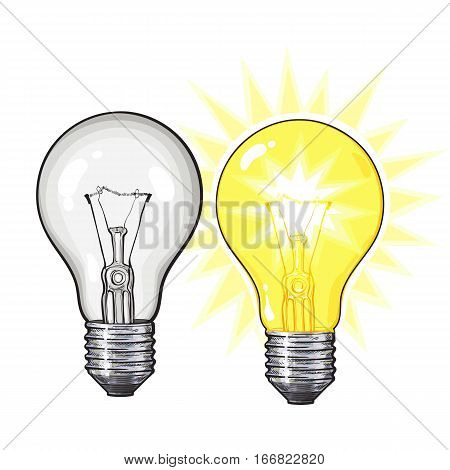 Two old-fashioned glowing tungsten light bulbs, glowing and unlit, sketch vector illustration isolated on white background. Realistic hand drawing of lit and unlit retro style tungsten light bulbs