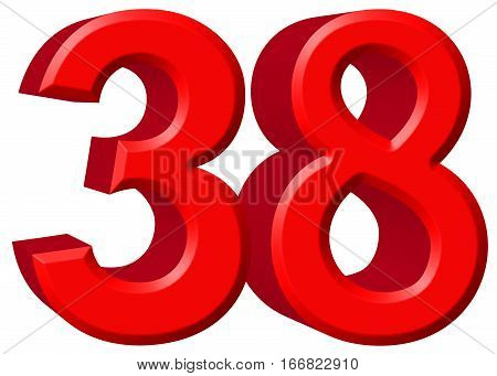 Numeral 38, Thirty Eight, Isolated On White Background, 3D Render