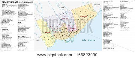 Vector neighborhood map of the Canadian city of Toronto