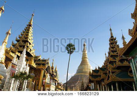 The Shwedagon Pagoda in Yangon on Myanmar
