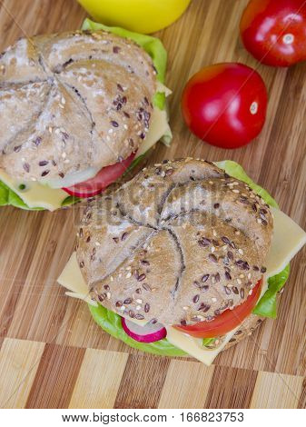 Vegetarian wholemeal sandwich with vegetables, top view