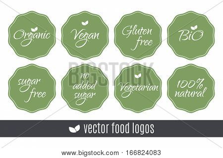 Food logos set. Organic Vegan Sugar Gluten free Bio Vegetarian 100 Natural labels. Vector green stickers isolated on white background. Healthy eating illustration labels