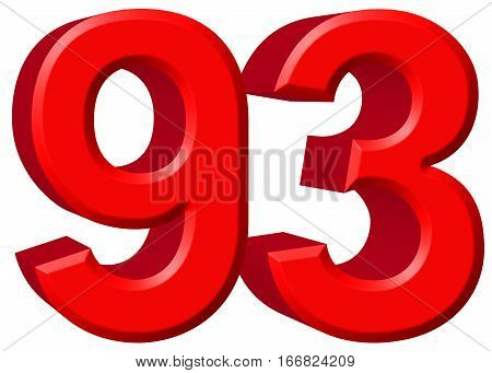 Numeral 93, Ninety Three, Isolated On White Background, 3D Render