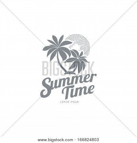 Black white, silhouette logo template with two palm trees and stylized sky, vector illustration isolated on white background. Black white summer time logotype, logo template with tropical palms