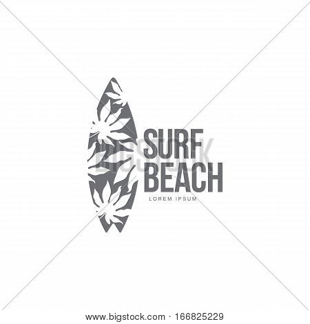 Black and white graphic surfing logo template with palm tree pattern surfboard, vector illustration isolated on white background. Graphic surfing board logotype, logo design