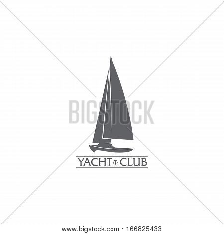 Black and white graphic yacht club, sailing sport logo template with wind filling the sails, vector illustration isolated on white background. Graphic yacht, sail boat logotype, logo design
