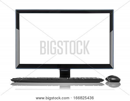 PC. Desktop computer isolated on a white background.