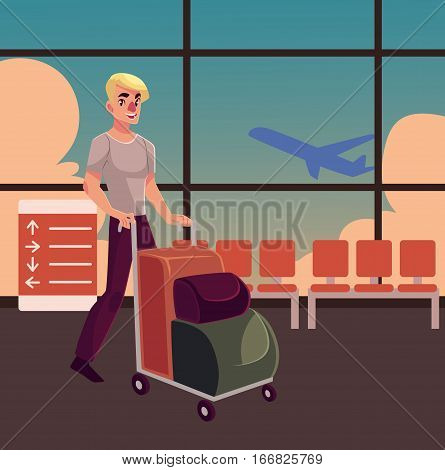 Young man pushing airport trolley with luggage, suitcases, bags in airport terminal interior with a view of airplane. Young handsome man going on vacation, pushing luggage trolley in the airport