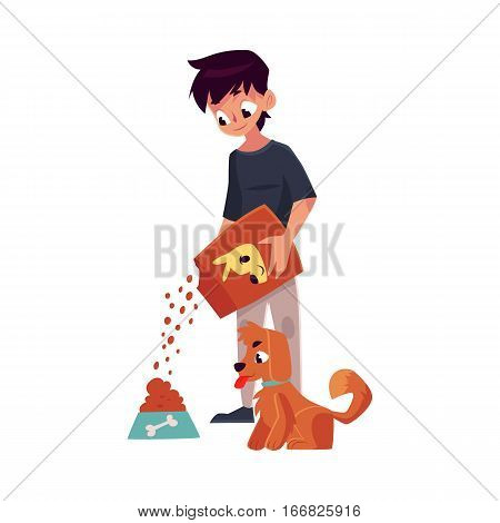 Teenage boy giving food to his puppy, dog, cartoon vector illustration on white background. Full length portrait of black haired boy pouring food from package into bowl for his dog, puppy