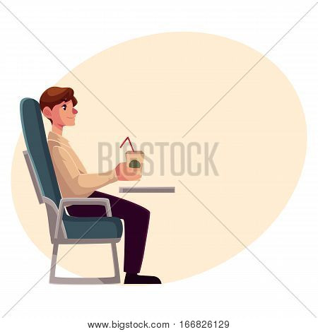Young man seating in airplane, economy class, holding a drink, cartoon vector on background with place for text. Man seating in economy class, airplane passenger, holding a paper cup of coffee, drink