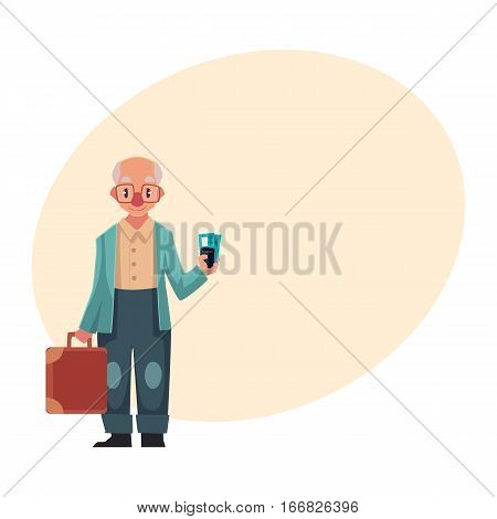 Old, senior, elder man in retro glasses holding suitcase and tickets in airport, cartoon illustration on background with place for text. Full length portrait of senior man travelling with old suitcase
