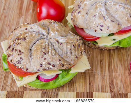 Tasty vegetarian wholemeal sandwich with vegetables, copy space