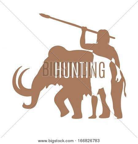 Hunting logo template. Ancient man hunting mammoth with spear, isolated vector