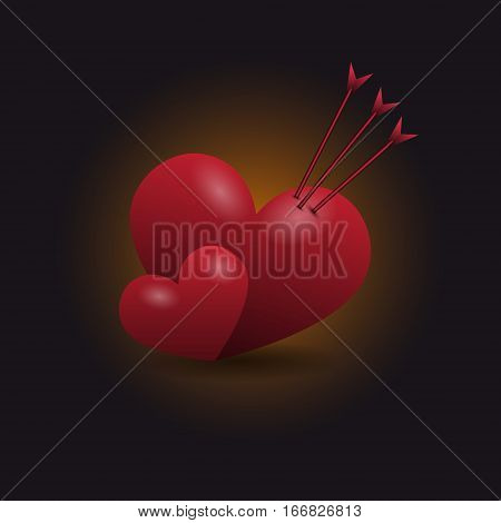 Two red hearts. Heart impaled by three arrows. Vector illustration
