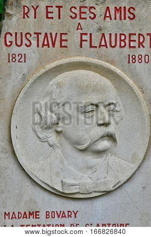 Ry France - june 23 2016 : the Gustave Flaubert stele