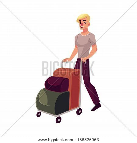 Young man pushing airport trolley with luggage, suitcases, bags, cartoon illustration isolated on white background. Young handsome man going on vacation, pushing luggage trolley in the airport