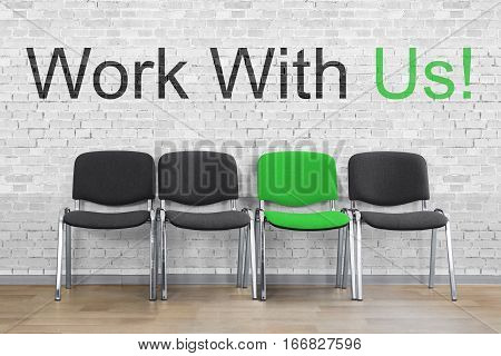 Work With Us Written With An Empty Chair In A Row. HR Resource Concept