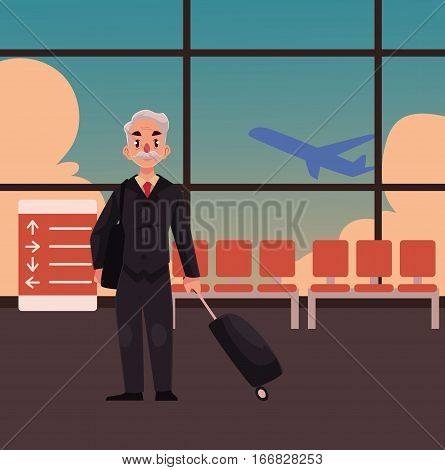 Old, senior, elder man in black suit with suitcase in airport terminal interior with a view of airplane. Full length portrait of old, senior man business traveler with luggage, suitcase