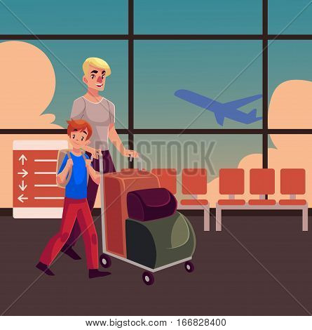 Young man pushing airport luggage trolley with his son in airport terminal interior with a view of airplane. Young father and son going on vacation in the airport