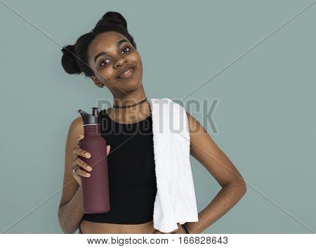 Young Women Hands Hold Water Bottle Studio