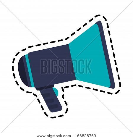 megaphone device icon over white background. colorful design. vector illustration
