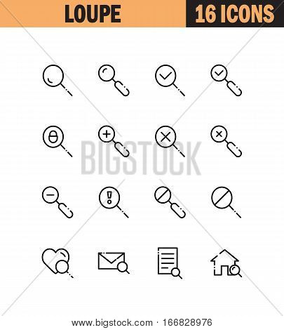Magnifier flat icon set. Collection of high quality outline symbols for web design, mobile app. Magnifier vector thin line icons or logo.